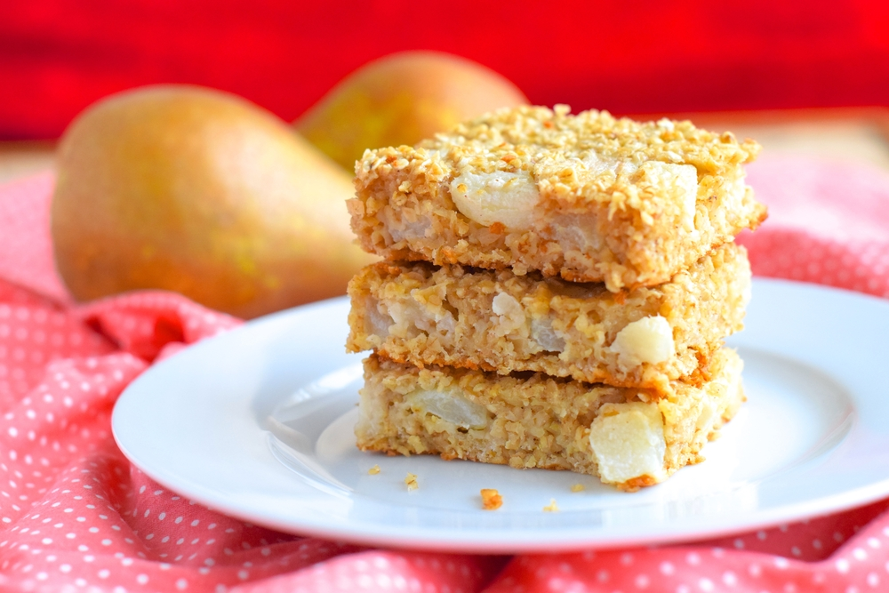 Pear, Oat and Dark Chocolate Lunchbox Squares