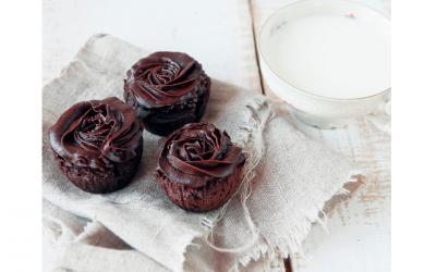 Chocolate, Beetroot, Quinoa Muffins with Choc Avo Icing